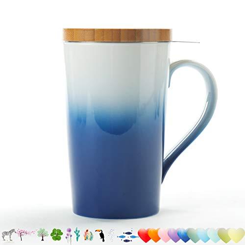 - TEANAGOO M066 Ceramic Tea-Mug with Infuser & Lid, 18 OZ, Navy Blue, Travel Teaware with Filter, Tea Cup Steeper Maker, Brewing Strainer for Loose Leaf Tea, Diffuser One Set Tea Lover Gift