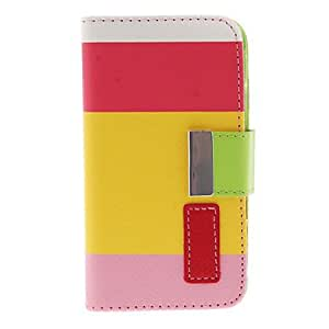 SOL Bright Colorful Fresh Style PU Leather Flip-Open Case with Card Slot, Stand and Strap for iPhone 4/4S