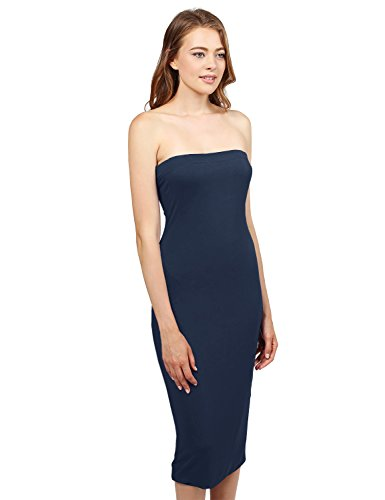 Made by Emma Solid Body-Con Midi Tube Dress Navy (Strapless Emma Dress)