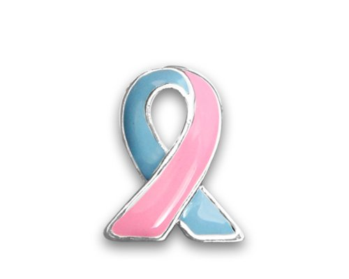 Fundraising For A Cause 25 Pack Pink and Blue Ribbon Lapel Pins (Wholesale Pack - 25 ()