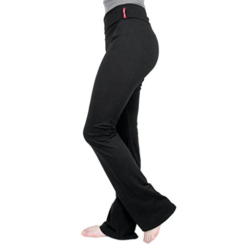 New Yoga Athletic Foldover Stretch Comfy Lounge Flare Fit Pants Black (1XL) - New Yoga Pants