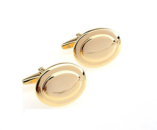 (Gold Plated Oval Cufflinks with Velvet Gift Box)