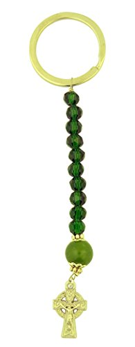 Travel Prayer Keychain - Green Acrylic Prayer Bead One Decade Rosary Keychain with Celtic Cross Crucifix, 5 Inch