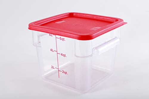 Hakka 6 Qt Commercial Grade Square Food Storage Containers with Lids,Polycarbonate,Clear - Case of 5 by HAKKA FOOD PROCESSING (Image #4)