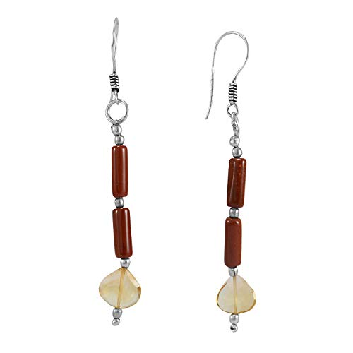 Handmade Jewelry Manufacturer Citrine-Jasper, 925 Silver Plated, Wire-wrapped Fishhook Earring Jaipur Rajasthan India