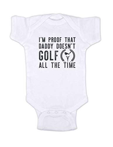 (Hello Handmade - I'm Proof That Daddy Doesn't Golf All The time Funny Baby Bodysuit Surprise Husband Shower Gift (Newborn Bodysuit, White))