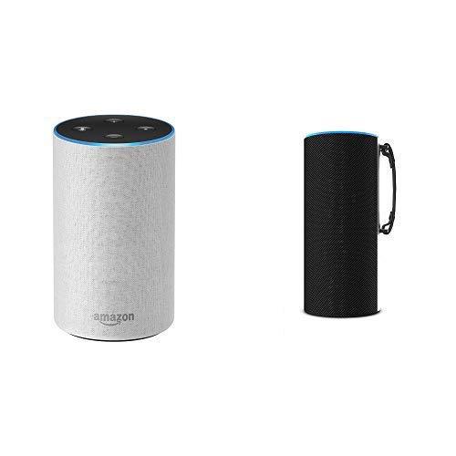 "Echo (2nd Generation) – Sandstone Fabric + ""Made for Amazon"" Ninety7 SKY TOTE Portable Battery Base – Black"