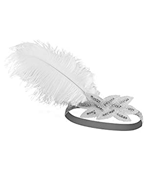 VIJIV Vintage 1920s Flapper Headband Roaring 20s Great Gatsby Headpiece with Feather 1920s Flapper Gatsby Hair Accessories