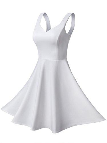 Missufe Women's Sleeveless Sweetheart Flared Mini Dress (X-Small, White 02) -