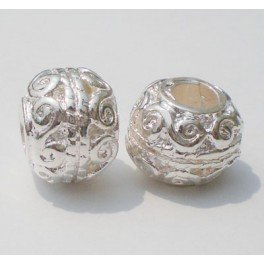 Buckets of Beads Scroll Spacer Charm Bead, Silver