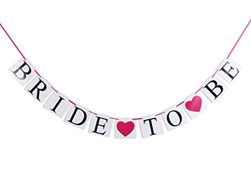 Elegant Heart Style (Bride to Be Wedding Banner - Qoolife Elegant Pink Heart Card String Style Bride Garland Wedding Sign Photo Prop for Wedding Party Decoration)