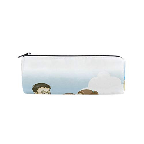 Kids Playing with Sand at BeachPencil Bag Pen Case Stationery Pouch Coin Purse with Zipper for School Work Office
