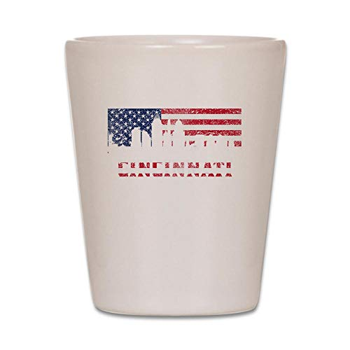 CafePress Cincinnati OH American Flag Skyline Shot Glass,