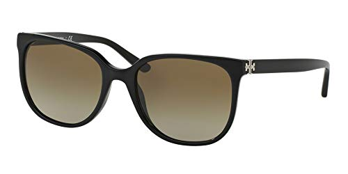 Tory Burch Women's 0TY7106 57mm Black/Dark Brown Gradient One Size from Tory Burch