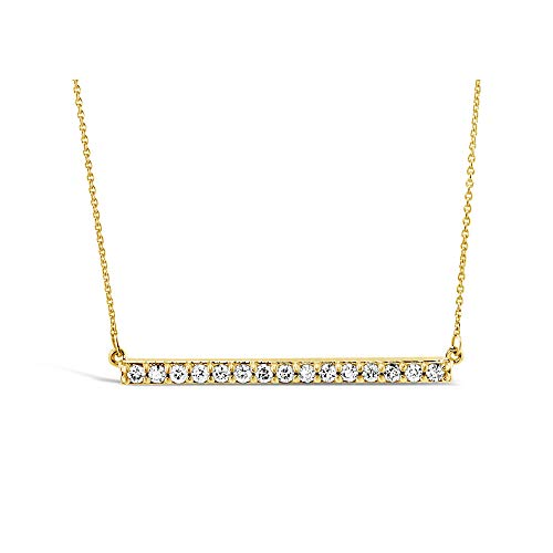 (Brilliant Expressions 10K Yellow Gold Horizontal Bar 1/4 Cttw Conflict Free Diamond Pendant Necklace (I-J Color, I2-I3 Clarity), 16 inch)