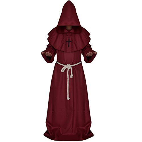 Halloween Costume - Medieval Monk Costume, Monk Robe Wizarding Costume, Priest Costume, Christian Church Principal Costume,Red,S
