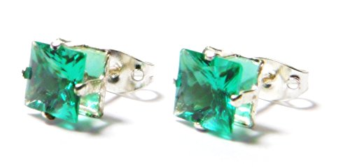 6mm Green Square Shape Cubic Zirconia CZ Crystal Stud Earrings, Silver Plated (6 Mm Square Green)