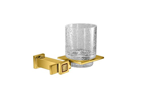 W-Luxury Starlight Wall Crackled Glass Toothbrush & Toothpaste W/Swarovski Crystals for Bathroom Tumbler (Polished Gold)
