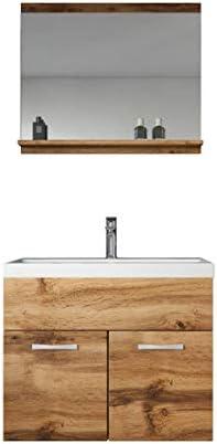 Badplaats B.V. Badezimmer Badmöbel Set Montreal 02 60cm Waschbecken Braun – Unterschrank Waschtisch Spiegel Möbel