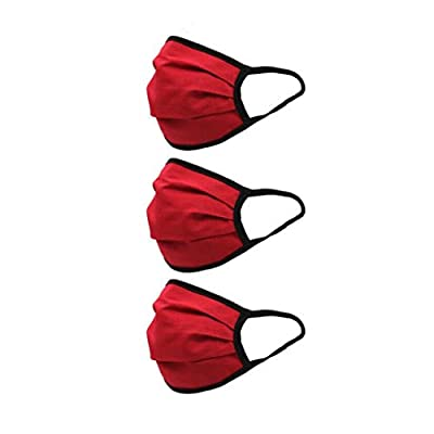 nobrand Cikyoo 3pcs Face Protective Cotton Washable Reusable Mouth Protection Face Bandanas Men Women Adults (Red): Sports & Outdoors