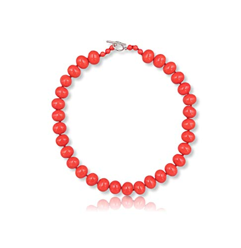 Womens Salmon Red South Sea Salmon Red Mother of Pearl Shell Pearl in Egg Shape Beaded Hand Knotted Collar Statement Necklace Sterling Silver Toggle Loop Clasp, about 20
