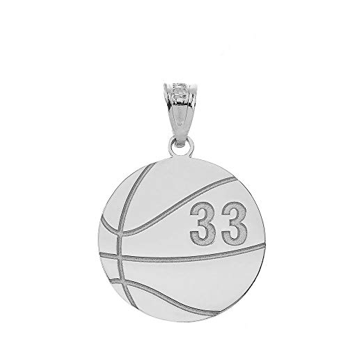 - Sports Charms Sterling Silver Personalized Basketball Pendant with Your Name and Number