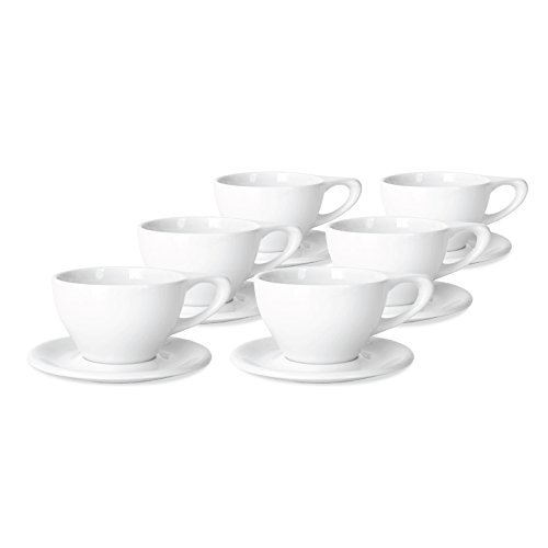 notNeutral 12oz Porcelain Latte Cups with Saucers | for Specialty Coffee Drinks, Latte, Cafe Mocha and Tea | for Personal, Restaurant, Commercial Use | Set of 6