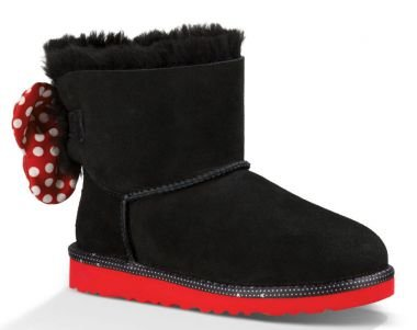 UGG Kids' Disney Sweetie Bow ,Black Sheepskin Youth Size 6 (Ugg Inspired Boots Women)