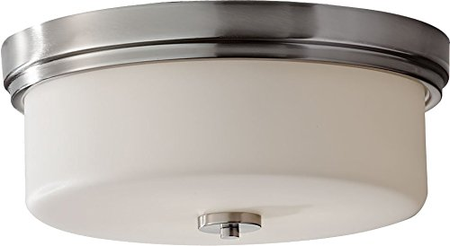 "Feiss FM371BS Kincaid Glass Flush Mount Ceiling Lighting, Satin Nickel, 3-Light (15""Dia x 7""H) 180watts"