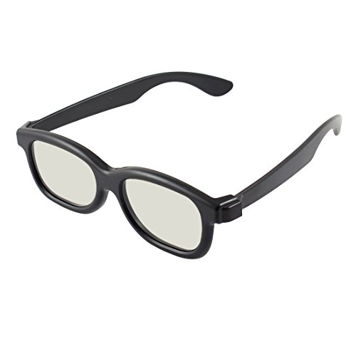 Black Plastic Rim Clear Gray Lens 3D TV Movies Games Anaglyph Glasses