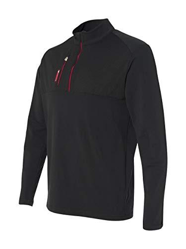 adidas Golf Mens Puremotion Mixed Media Quarter-Zip (A195), Black/Bold Red, - Mock Adidas Neck Golf