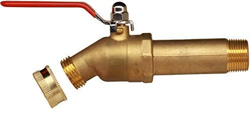 """House Mods HMP011 Brass 3/4"""" MIP Water Heater Replacement Drain valve(Full Port, Ball Valve, 3 inch Shank, W/Garden Hose Cap)"""