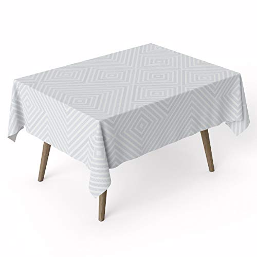 (Geo Cotton Tablecloth   Waterproof Laminated Cotton Table Covers for Rectangle Tables   Stain Resistant & Wipe Clean Table Cloth Pad Ideal for Party & Kids   Eco Friendly Flat)