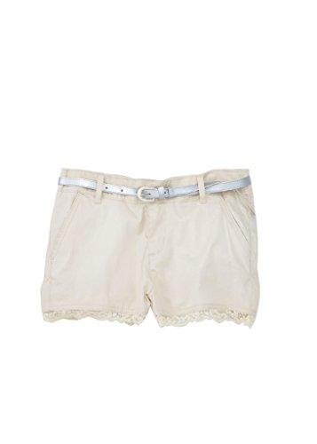 [[A334054-KHK-4] Chilipop Shorts for Girls, Belted, Stretch Poplin, Lace Trim, Khaki] (Glamour Belted Belt)
