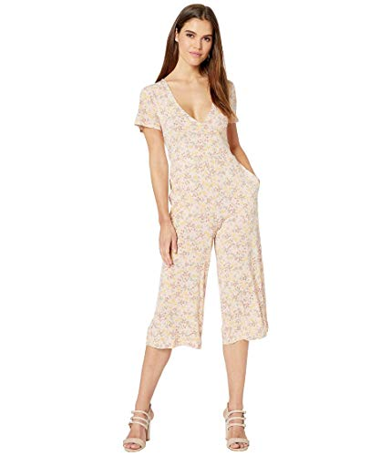 BCBGeneration Women's Allover Floral Cropped Jumpsuit, Rose Smoke, L from BCBGeneration