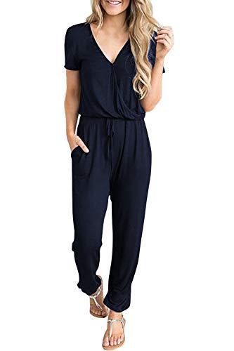 (Fixmatti Women Casual V Short Sleeve Elastic Waisted Jogger Jumpsuit Navy Blue M)