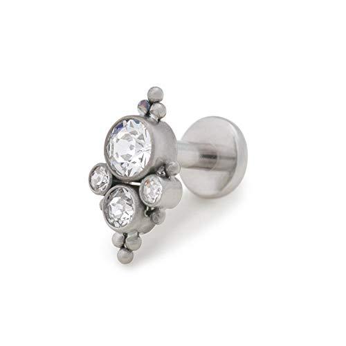 - Painful Pleasures Titanium Top with Four Clustered Cubic Zirconia Jewels - Capri Blue