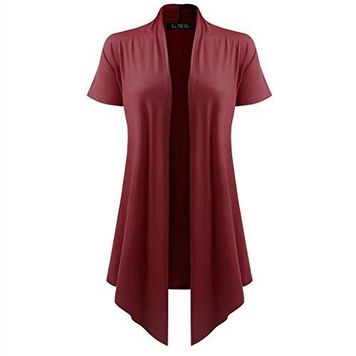 Pengy Women's Cover-up Soild Blouse Soft Drape Cardigan Short Sleeve Smock Sun Wear Blouse Tops Clothes Wine