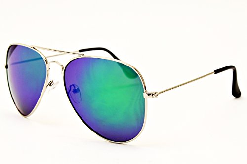 A3000-vp Pack of 2 Style Vault(TM) Aviator Sunglasses (LP Silver-Emerald Green & Silver-Silver)