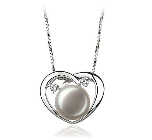 Katie Heart White 9-10mm AA Quality Freshwater 925 Sterling Silver Cultured Pearl Pendant For Women