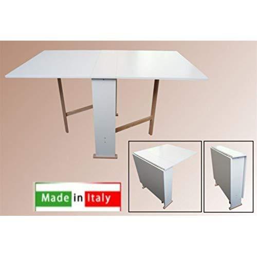 Tavolo in Legno Richiudibile Pieghevole Bianco mod Susanna 140x75x78 cm