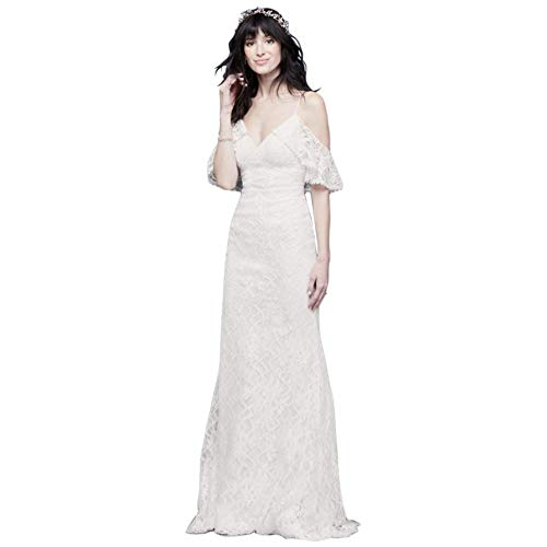 David's Bridal Cold Shoulder Wedding Dress with Ruffled Sleeves Style WG3954, Soft White, 6