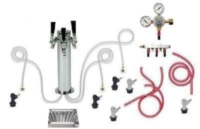 3 Tap Chrome Tower Home Brew Kegerator Kit with tray (Flat Rate Shipping)