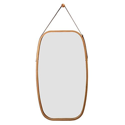 - Hanging Rectangle Wall Mirror in Bathroom & Bedroom - Solid Bamboo Frame & Adjustable Leather Strap, Makeup Dressing Home Decor (Bamboo, 29L 17W Inch)