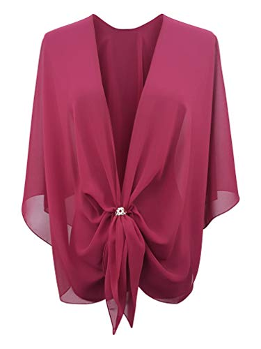 eXcaped Women's Evening Shawl Wrap Sheer Chiffon Open Front Cape and Rose Gold Scarf Ring (Claret)