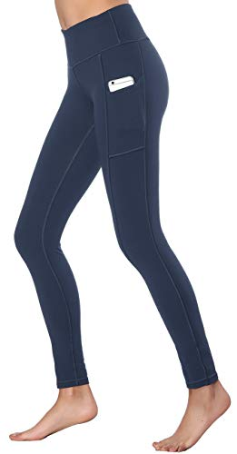 4 Season Pants - Women's High Waist Yoga Pants with Side & Inner Pockets Tummy Control Workout Running Sports Leggings (M, Purplish Blue)