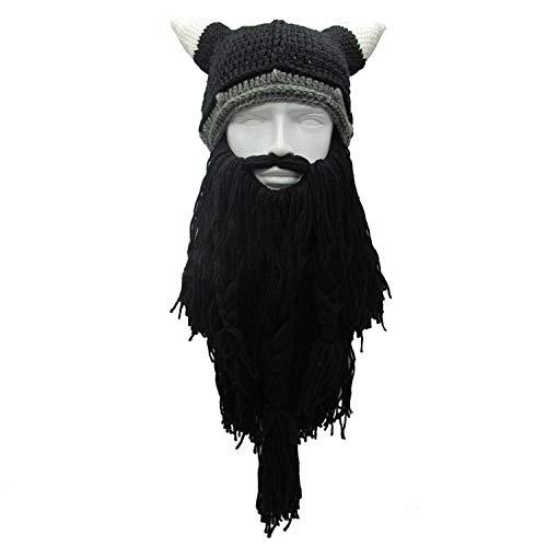 Men's Barbarian Vagabond Viking Beard Beanie Horn Hats Handmade Winter Warm Funny Gag Halloween -