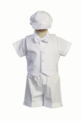 Swea Pea & Lilli Poly Cotton Christening Short Set with Basket Weave Veast and Hat - White Size L (12-18 Months) / 18-22 Pounds
