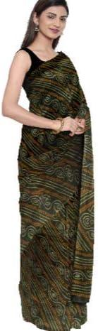 Durga Puja Special Saree Georgette Saree Women Bandhani Tie Dye Printed Sari Clothing Wedding Wear With Unstitched Running Blouse