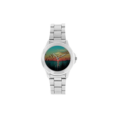 Unisex Stainless Steel Watch Beautiful lake reed sunset scene Design by Unisex Stainless Steel Watch